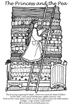 Free Printable Princess and the Pea Hidden Pictures Activity : Printables for Kids – free word search puzzles, coloring pages, and other activities Garden Coloring Pages, Animal Coloring Pages, Coloring Book Pages, Printable Coloring Pages, Coloring Pages For Kids, Princess Activities, Book Activities, Summer Coloring Sheets, Fairy Tale Projects