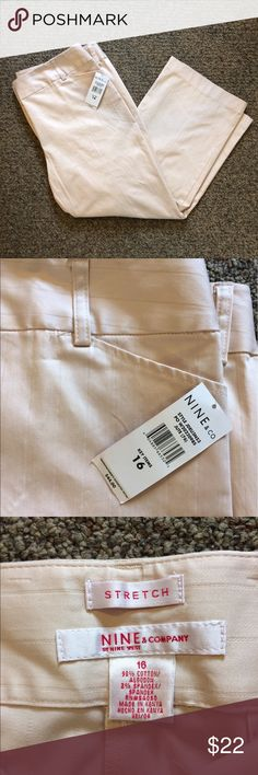 NWT Nine & Co. crops New with tags Nine and Co. cropped pants/capris. Pinstripe detail. Color is a tan with very muted pink/almost salmon hue. Hard to accurately depict in photos. Nine & Co. Pants