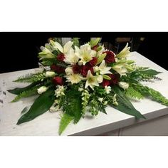 Forever in our Hearts Casket Spray in red and white Sympathy and Funeral Flowers Three Hills AB Florist - Shirley's Flowers and Friend's Spider Mums, Casket Sprays, Red And White Roses, Funeral Flowers, Red Accents, Carnations, Special Gifts, Bath And Body, Flower Arrangements