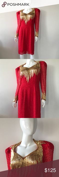Lillie Rubin Dress Red and Gold Sparkly Dress Dresses Long Sleeve