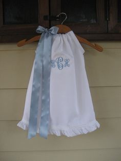 White Monogrammed Pillowcase Dress with Ruffles - sizes 3m to 5T........Perfect Dress for WEDDINGS, BAPTISMS, and Flower Girls. $30.00, via Etsy.