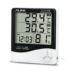 Alinktrend High Accuracy Thermometer Hygrometer TP331D Allinone Memory Digital Wireless Electronic hygrothermometer Timer Temperature and Humidity Meter Alarm Clock Probe for Indoor and Outdoor -- Click image for more details.