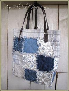 Rag Quilt Bag - blue cotton and denim