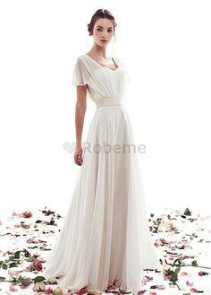 Robe de mariée naturel en chiffon mancheron a-ligne col en v
