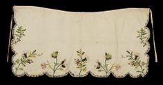 Early 18th century, England - Apron - Silk with silk and metal thread embroidery
