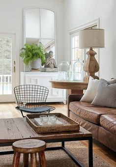 Brown Leather Couch with Industrial Coffee Table, Cottage, Living Room