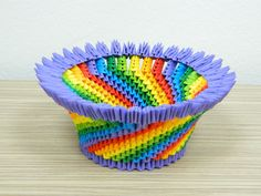 3D Origami Intense Colorful Basket by SilvyOrigami on Etsy