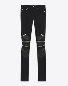 Saint Laurent Signature Low Waisted Skinny Motocross Jean In Black Stretch Denim | ysl.com