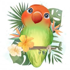 Baby Animal Drawings, Bird Drawings, Cute Drawings, Love Birds Drawing, Watercolor Cards, Watercolor Illustration, Watercolor Flowers, Funny Birds, Cute Birds