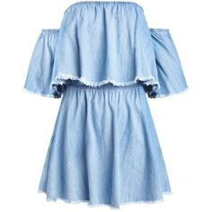 Denim Frayed Off the Shoulder Dress ($58) ❤ liked on Polyvore featuring dresses, vestidos, short dresses, off shoulder ruffle dress, ruffle dress, denim mini dress, blue dress and blue mini dress
