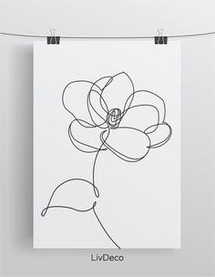Line Art Flowers, Flower Line Drawings, Line Flower, Simple Line Drawings, Easy Drawings, Flower Art, Drawing Flowers, Painting Flowers, Simple Flower Drawing