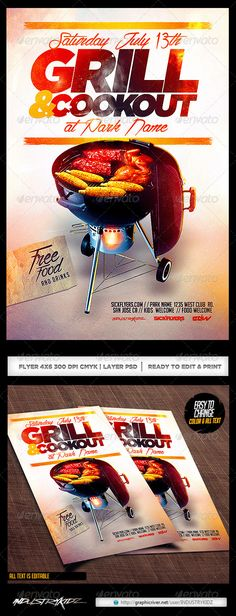 Bbq Party Flyer Template Psd Photoshop Psd Grill Rooftop