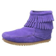 Minnetonka Moccasins 2294S - Childrens Double Fringe Ankle Boot - Purple Suede