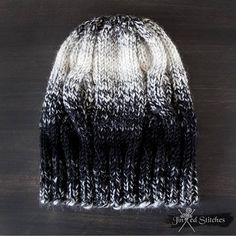 170e7810d3c Cozy   Warm Hand knitted gradient ombre beanie hat monochrome Unisex Black  White Jinxed Stitches Cable