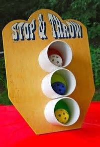 Toss game for back yard kid party (via threadesque: Vintage Carnival Engagement Party) Fall Carnival, Kids Carnival, Carnival Birthday Parties, Halloween Carnival, Circus Birthday, Circus Party, Carnival Ideas, Diy Carnival Games, Church Carnival Games