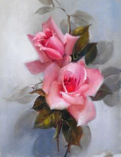 Artist: Jill Kirstein - Title: Pink Roses (23.00 cm X 28.00 cm)