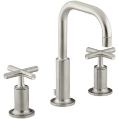 Kohler K-14406-3-SN Purist Vibrant Polished Nickel Two Handle Widespread Bathroom Faucets  | eFaucets.com