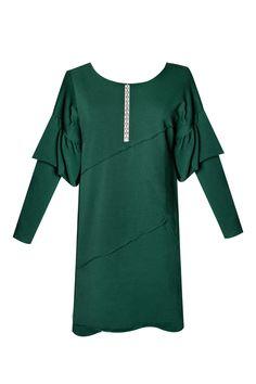 Vestido verde con strass TERIA YABAR Otoño Invierno 2019 2020 Tunic Tops, Women, Fashion, Green Dress, Side Cuts, Full Sleeves, Fall Winter, Velvet, Night