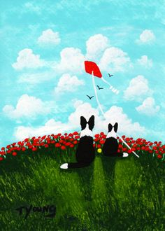 Border Collie Dog folk art print by Todd Young by ToddYoungArt, $13.99