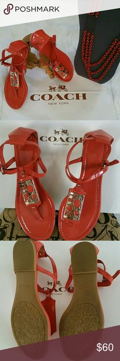 COACH ODELE SANDAL Summer look Coach Odele Flat Sandal  Glossy patent leather with the added shine of a distinctive Coach wordmark plaque.      Buckle closure Rubber Sole. Tangerine leather Sling. AUTHENTIC 100%  . EXCELLENT CONDITION!! Includes paper bag only. Coach Shoes Sandals