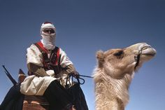 A member of the French Camel Corps, the Meharists, with his camel, Tunisia