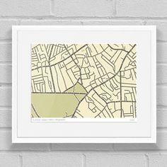 Clapham Typographic Street Map