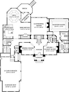 Colonial Style House Plan - 5 Beds 5.5 Baths 5432 Sq/Ft Plan #453-27 Floor Plan - Main Floor Plan - Houseplans.com