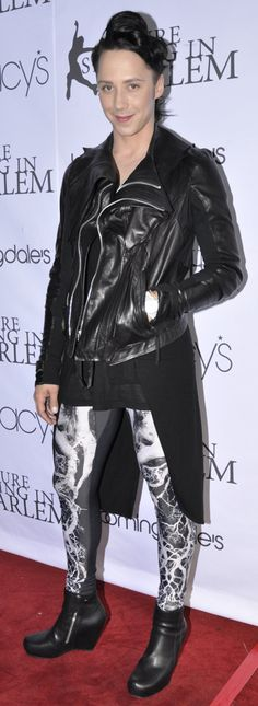 Johnny Weir rocks Alexander McQueen leggings and Rick Owens boots.  Absolutly fabulous...