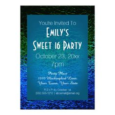 Blue Green Ombre Glass Ice Sweet 16 Birthday Invitations