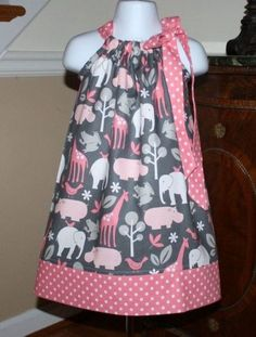 Pillowcase Dress toddler dresses michael miller zoo pink girls baby by blakeandbailey Pillowcase Dress toddler Easter dresses michael by BlakeandBailey - I just like the pattern of fabric, Izzy would too Economical & cool and trendy toddler dresses. Sewing For Kids, Baby Sewing, Sewing Ideas, Sewing Projects, Sewing Crafts, Sewing Patterns, Skirt Patterns, Diy Crafts, Blouse Patterns