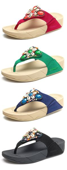9fd120b68d8bdd Bohemia Beaded Crystal Shell Platform Flip Flops Beach Slippers sells at a  wholesale price. More other womens slippers also sell at a wholesale price.