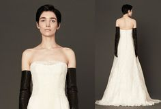This strapless guipure gown with silk organza overlay is sheer loveliness