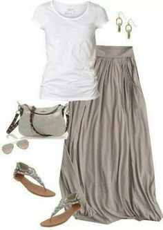 I'm a fan of long, flow-y skirts in the summer with sandals.
