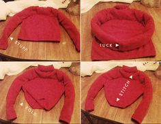 "Sweater Cat Bed for $3 in Ten Minutes Would a cat use it?  Could make this from my ""favorite"" worn out sweater."