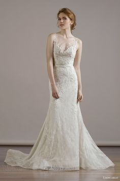 liancarlo bridal fall 2015 wedding dress style 6815 italian bouquet embroidery chantilly waisted sleeveless mermaid illusion bateau neckline