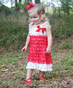 Love this Red & White Lace Ruffle Dress - Infant, Toddler & Girls by Under The Hooded Towels on #zulily! #zulilyfinds