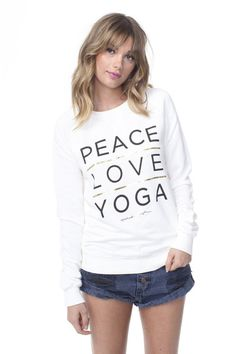 Peace Love Yoga Stacked Sweatshirt Stardust #FALL-2015 #LARGE #LONG-SLEEVE