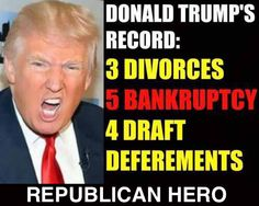 A true republican: ego, hate and greed.  To be fair, the bankruptcies were his companies, not him personally.  I'm not sure why that makes it better.