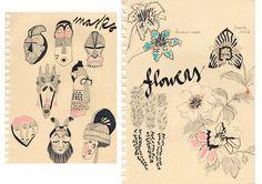 #ILLUSTRATION #MLC #masks #flowers #notebook http://letiziamlc.tumblr.com/