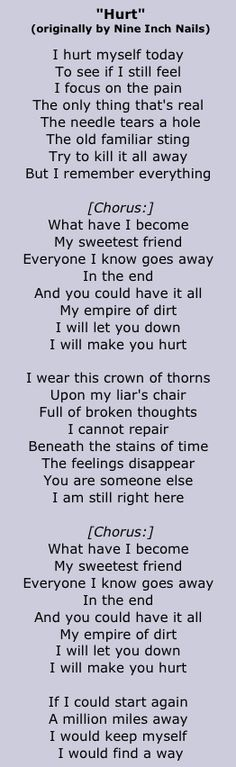 Johnny Cash - Hurt. Lyrics by 9 Inch Nails