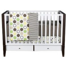 """We have this crib in my sons room and love it.  Although the drawers on the bottom are useless and we had to hang extra fabric to cover the """"empty space"""" beneath the mattress. By Dwell Studios for Target."""