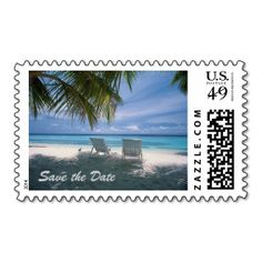 Destination Beach Wedding Save the Date Stamps Postage Stamps