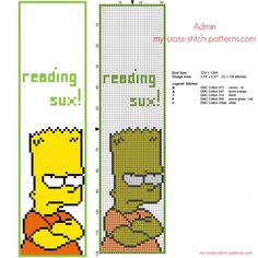 Funny cross stitch bookmark with Bart Simpson free download size 32 x 120 stitches