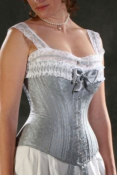 19th Century Corset Reenactment Victorian Era by PeriodCorsets Very pretty spoon busked corset with a lovely bow at centre front. $725