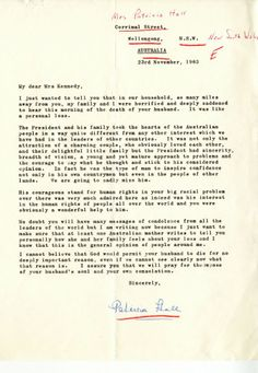 Condolence letter from Patricia Hall of Australia  to Jacqueline Kennedy, November 23, 1963
