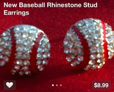 Rhinestone stud baseball earrings by FleurdeBling on Etsy, $8.99