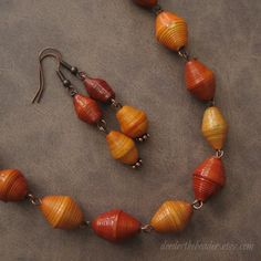 Paper Bead Necklace and Earring Set - Rwandan Paper Beads - Orange and Copper. $25.00, via Etsy.