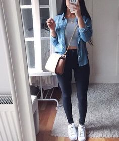 how cute she looks with high waisted skinnies crop top and denim jacket