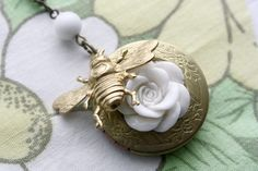 Items similar to Honey Bee Locket Necklace on Etsy Honey Bees, Save The Bees, Busy Bee, Bee Keeping, Locket Necklace, Jewelery, Gift Ideas, Sweet, Earrings