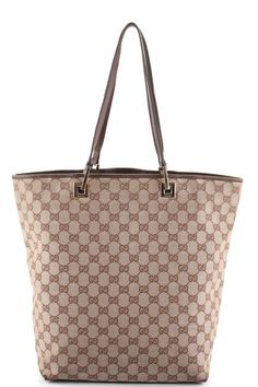 AUTH GUCCI Beige Brown Canvas Monogram Leather Trim Shopper Tote Handbag EVHB #Gucci #TotesShoppers